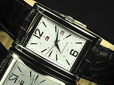 Tommy Hilfiger White Dial Black Calf Leather Dress Watch 1710277 #XmasBonus