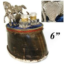 Antique Victorian Era Double Inkwell: Equestrian Horse Hoof, Knight, Trophy