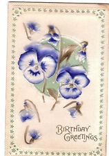 Antique Embos Floral Blue Pansy Flower Birthday Greeting Card Postcard Unposted