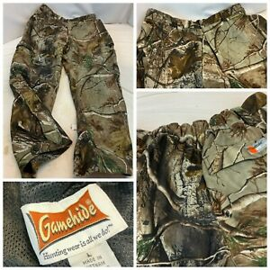 """Gamehide Thermal Camo Hunting Pants L Real Tree Poly Zip Ankle 29"""" Ins YGI B1-58"""
