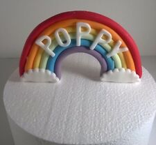 EDIBLE RAINBOW  CAKE TOPPER  WITH NAME up to 8 letters birthday christening