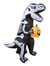 6 Foot Tall Halloween Inflatable Skeleton T-Rex Dinosaur Pumpkin Yard Decoration