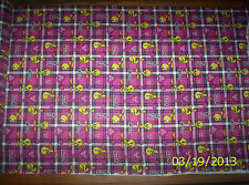 New Pink Plaid Tweety and Hearts 100% Cotton Flannel fabric by the yard