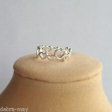 Pretty Silver Open Hearts Adjustable Band Small Finger Toe Ring ~ Love