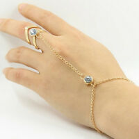 Fashion Punk Jewelry Women Lady Rhinestone Crystal Gold Plated Ring Bracelet FJ