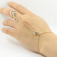 Fashion Punk Jewelry Women Lady Rhinestone Crystal Gold Plated Ring Bracelet DS