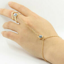 Fashion Punk Jewelry Women Lady Rhinestone Crystal Gold Plated Ring Bracelet