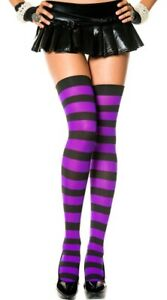 Leg Avenue Opaque Wide Striped Thigh High Stockings Sexy Costume Purple Cosplay