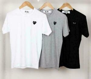 2021 NEW cotton  Play Littel Black Heart Comme Short Sleeve T-Shirt 4 colour