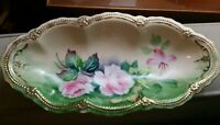 Vintage Porcelain OVAL DISH decorated with flowers and gold paint