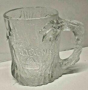 Vintage 1993 McDonalds Flintstones FLINT Clear Glass Mug Cup France SHIPS FREE