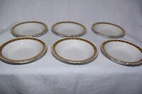 "Vintage Burleigh Ware Set of 6 x 6.5"" Dessert Fruit Bowls White with Gold Trim"