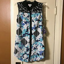 New Peter Pilotto for Target XS Shirt Dress Floral Check PP-41 Black Blue