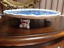 """A S C  Co  Snow Man Carrying Christmas Cookies Cake Pie Dish Blue 10.5"""""""