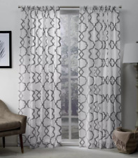 "Exclusive Home Muse Geometric Textured Jacquard Linen Sheer Panel, 108"" x 54"""