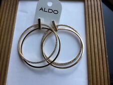 ALDO  GOLD TONE LARGE DOUBLE HOOP EARRINGS with BLING