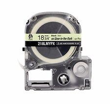 "K-Sun 218LMY Black on Glow in the Dark PX Tape 3/4"" KSun 18mm Epson 218LMYPX"