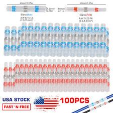 100pcs Solder Sleeve Heat Shrink Wire Butt Splice Connector Waterproof Terminals