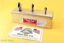 3 Pc Countersink Set 1/4, 3/8, 1/2 Reamer 3 Flute Cobalt 82° Stand Drill Hog USA