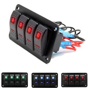 4 Gang Rocker Switch Panel Circuit Breaker Red LED For RV Car Marine Boat 12-24V