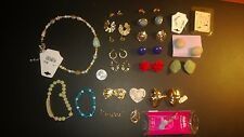 Vintage Lot Of Costume Jewelry- Earrings Pendant Necklace Pins Bracelets (37)