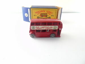 """Matchbox 5b London Bus """"Players Please"""" - Stannard Code 10 - red body with mask"""