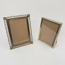 2 Vintage 5 x 7 Gold Tone Filigree Metal Ornate Picture Frames Hollywood Regency