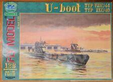 Kartonmodellbau U-Boote, zwei U-Boote: VIIC und IXC/40 Fly Model 128 - 1:100