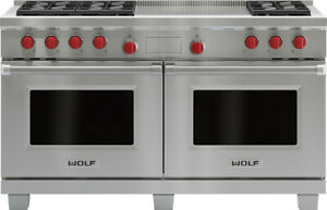"""Wolf GR606DG 60"""" Pro-Style Gas Range w/ Double Griddle (Stainless Steel)"""