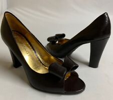 "Rampage Women size 6M Brown Slip On Pump Heel ""Ophelia"" Peep Toe with Bow EUC"