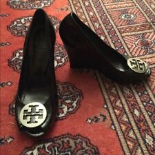 Tory Burch Sally 2 Black Patent Leather Wedge Pump Peep Toe Shoes 8.5