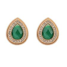Clear Austrian Crystal Teardrop Earrings Gorgeous 18K Gold Plated Green And
