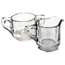 Antique Heisey Clear Glass Paneled Open Sugar Bowl & Creamer Set Collectible
