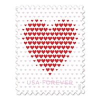 US Forever LOVE Made of Hearts stamps 5 sheets 20= 100 Wedding Invitation 5431