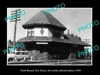 OLD LARGE HISTORIC PHOTO OF NORTH BRANCH NEW JERSEY, THE RAILROAD STATION c1950