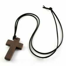 Leather Cord Wooden Cross Necklace Crucifix Religion Pendant Stocking Filler