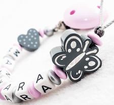 Schnullerkette mit Namen ★ Schmetterling ★ Mädchen ★ Baby  ★ grau rosa