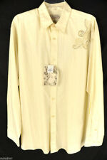NWT INDIGO JOE LONG SLEEVE SHIRT MEN'S SIZE XL IVORY/BISQUE STRIPED BUTTON FRONT