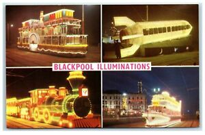 Postcard Blackpool illuminations 4 views