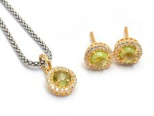 Yellow Gold Plated Peridot Earrings Necklace Set 925 Sterling Silver Jewelry Set