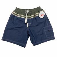 Speedo Mens Elastic Waist Mesh Swim Swimming Shorts Trunks Navy Green Size XL