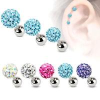 16G 316L Surgical Steel Gem CARTILAGE Bar Tragus Helix Piercing Ear Stud Earring
