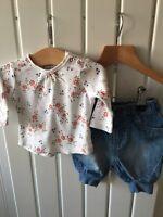 Baby Girl's Clothes Newborn - 2pc NEXT Set - Floral Top & Cuffed Hem Jeans
