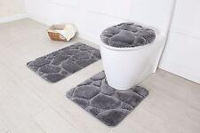 Hotel Collection 3 Piece Premium River rock Bath rug set 100% Polyester (Gray)