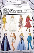 8333 SEWING PATTERN ~1987~BARBIE DOLL CLOTHES:ROMPER&WESTERN OUTFIT&CAPE++