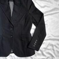 William Rast Black W Logo Womens M Blazer Jacket Cotton Blend