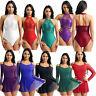 UK Women's Ladies Sequins Asymmetric Dress Ballet Dance Costume Leotard Unitards