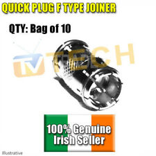10 X Quick Plug Push On F Type Joiners Free TV Connectors,Saorview Free to Air