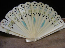 """Folding Fan Celluloid Ivory Colored Pierced Design Antique Vintage 7.75"""" X 4.25"""""""