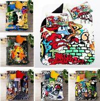 3D Hip Hop Graffiti Doona Duvet Cover Queen Art Quilt Cover PillowCase
